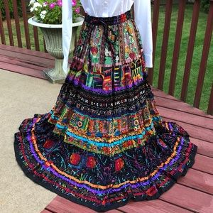 Soft surroundings colorful maxi skirt